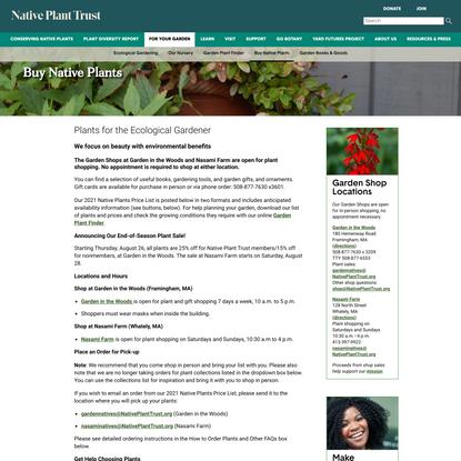 Buy Native Plants - Native Plant Trust