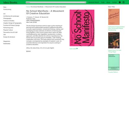 No School Manifesto - A Movement Of Creative Education - Idea Books