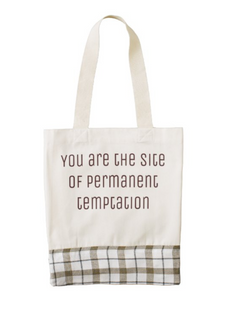 """""""You are the site of permanent temptation"""" plaid tote"""