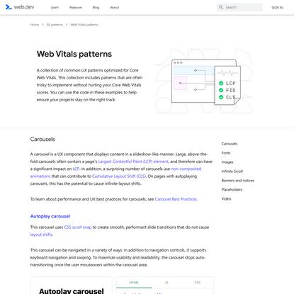 Web Vitals patterns