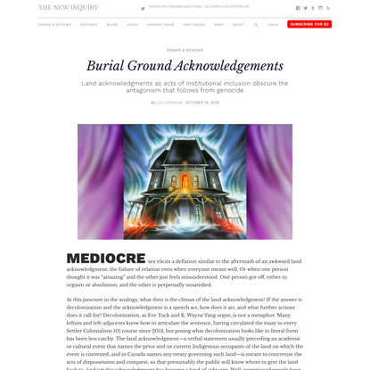 Burial Ground Acknowledgements