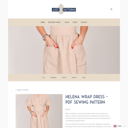 Helena Wrap Dress - PDF Sewing Pattern — Just Patterns
