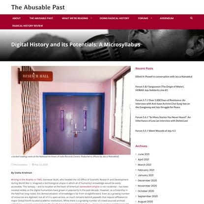Digital History and its Potentials: A Microsyllabus