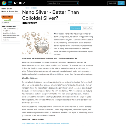 Nano Silver - Better Than Colloidal Silver?