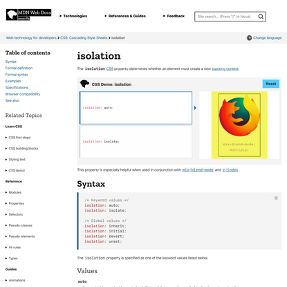 isolation - CSS: Cascading Style Sheets | MDN