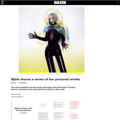 Björk shares a series of her personal emails