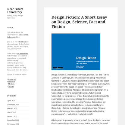Design Fiction: A Short Essay on Design, Science, Fact and Fiction - Near Future Laboratory
