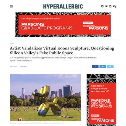 Artist Vandalizes Virtual Koons Sculpture, Questioning Silicon Valley's Fake Public Space