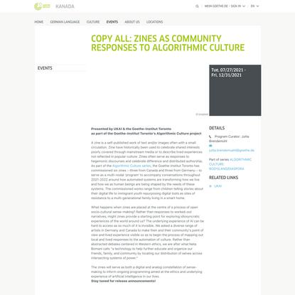 Copy All: Zines as community responses to algorithmic culture - Goethe-Institut Kanada