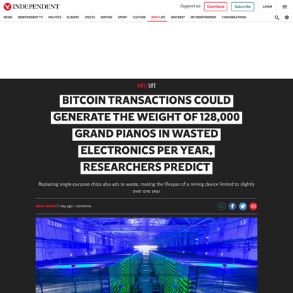 Bitcoin could generate the weight of 128,000 grand pianos in wasted electronics