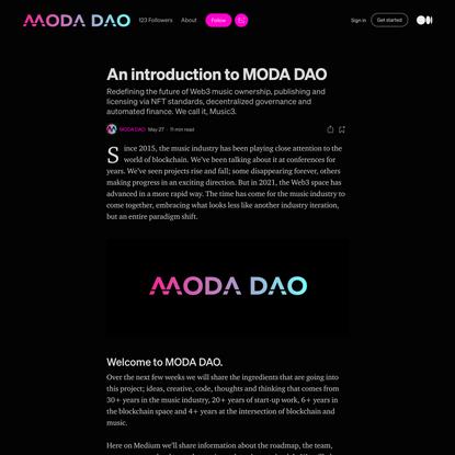 An introduction to MODA DAO