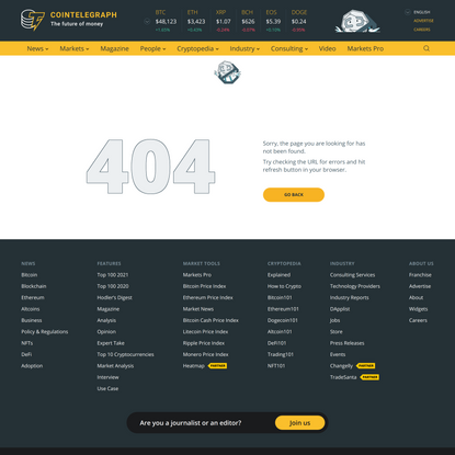 Page Not Found | 404 | Cointelegraph