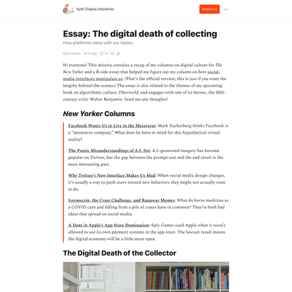 Essay: The digital death of collecting - by Kyle Chayka - Kyle Chayka Industries