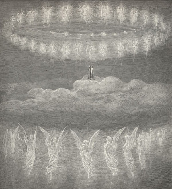 Gustave Doré, illustration to Paradiso, Canto XIV, 1880. Dante and Beatrice move into the fifth heaven, Mars.