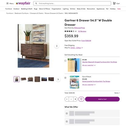 Millwood Pines Gartner 6 Drawer 54.5'' W Double Dresser & Reviews   Wayfair