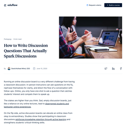 How to Write Discussion Questions That Actually Spark Discussions · Eduflow blog