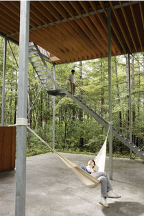 Go Hasegawa, House on Pilotis in Forest