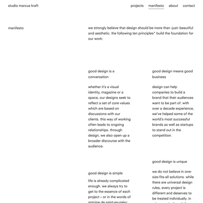 studio marcus kraft: manifesto