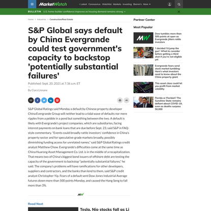 S&P Global says default by China Evergrande could test government's capacity to backstop 'potentially substantial failures' - MarketWatch