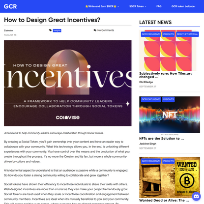 How to Design Great Incentives? -