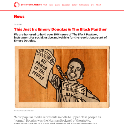 Letterform Archive - This Just In: Emory Douglas & The Black Panther