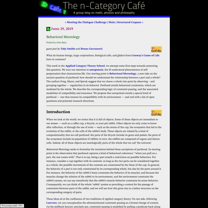 Behavioral Mereology   The n-Category Café