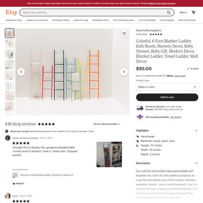 Colorful 6 Foot Blanket Ladder Kids Room Nursery Decor   Etsy