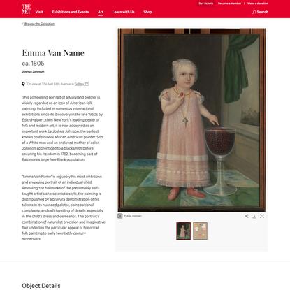 Joshua Johnson | Emma Van Name | The Metropolitan Museum of Art