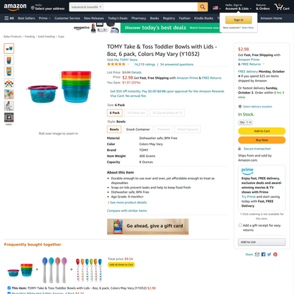 TOMY Take & Toss Toddler Bowls with Lids - 8oz, 6 pack, Colors May Vary (Y1032)