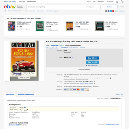 Car & Driver Magazine May 1992 Issue Yours For $14,000 | eBay