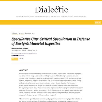 Speculative City: Critical Speculation in Defense of Design's Material Expertise