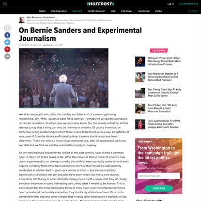 On Bernie Sanders and Experimental Journalism