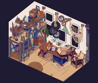 Interior concept art for moonglow bay by @viiolaceus