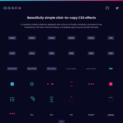 CSSFX - Beautifully simple click-to-copy CSS effects
