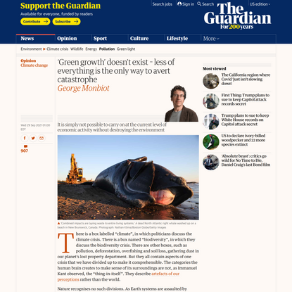'Green growth' doesn't exist – less of everything is the only way to avert catastrophe   George Monbiot