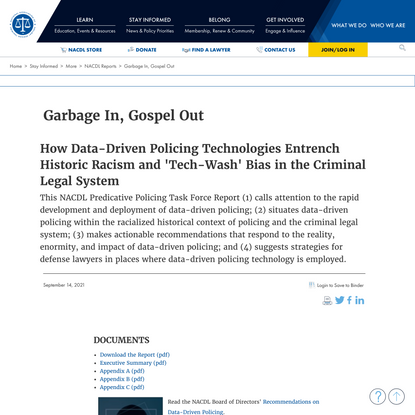 NACDL - Garbage In, Gospel Out