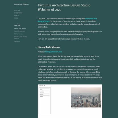 Favourite Architecture Design Studio Websites of 2020