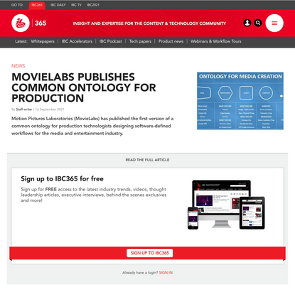MovieLabs publishes common ontology for production
