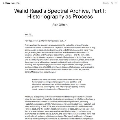 Walid Raad's Spectral Archive, Part I: Historiography as Process - Journal #69 January 2016 - e-flux