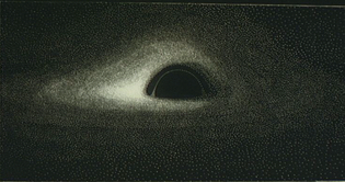 The first accurate image of the appearance of a black hole (India ink on Canson negative paper).
