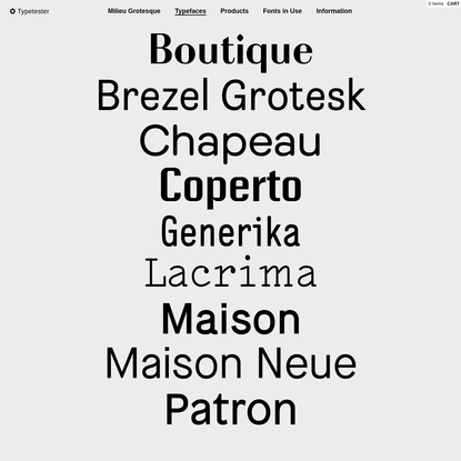 Typefaces / Milieu Grotesque / Digital Typefoundry