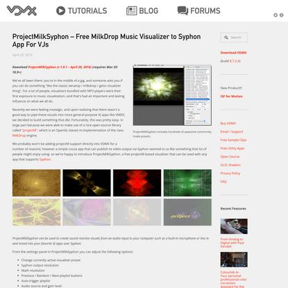 ProjectMilkSyphon –Free MilkDrop Music Visualizer to Syphon App For VJs — VDMX - MAC VJ SOFTWARE