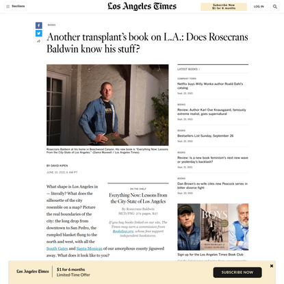 Another transplant's book on L.A.: Does Rosecrans Baldwin know his stuff?