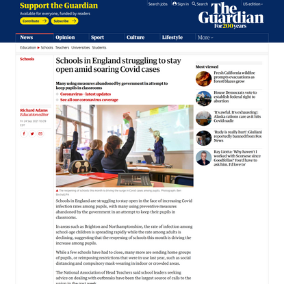 Schools in England struggling to stay open amid soaring Covid cases   Schools   The Guardian
