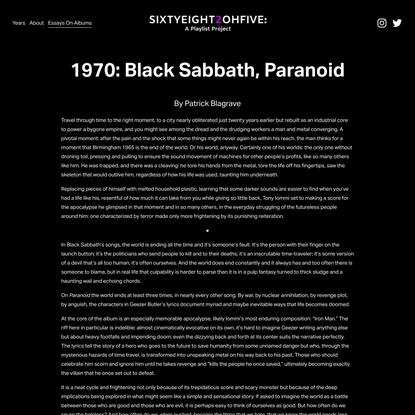1970: Black Sabbath, Paranoid — SIXTYEIGHT2OHFIVE