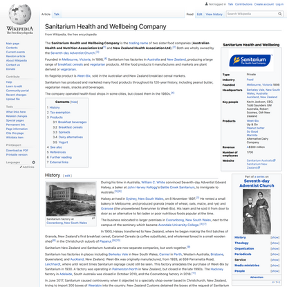 Sanitarium Health and Wellbeing Company - Wikipedia