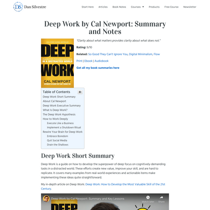 Deep Work by Cal Newport: Summary and Notes Dan Silvestre