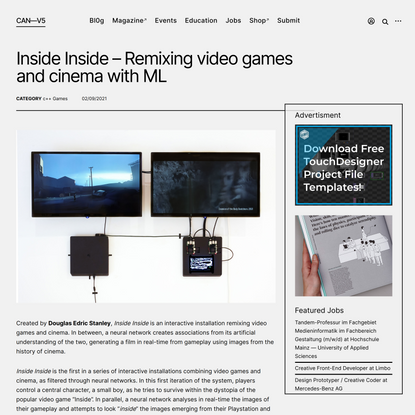 Inside Inside – Remixing video games and cinema with ML – CreativeApplications.Net