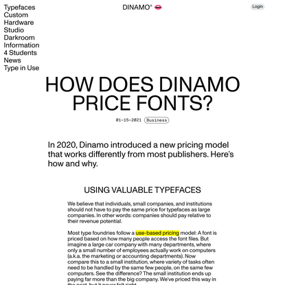 How does Dinamo price fonts?