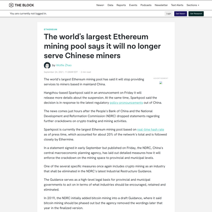 The world's largest Ethereum mining pool says it will no longer serve Chinese miners